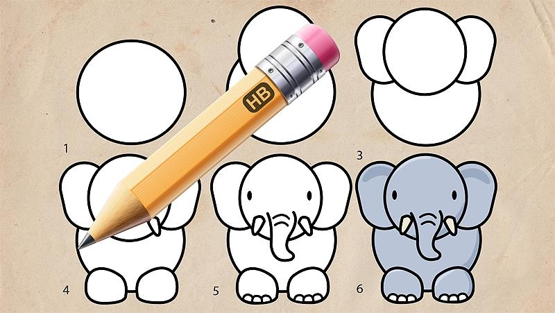 Cách vẽ chú voi con.