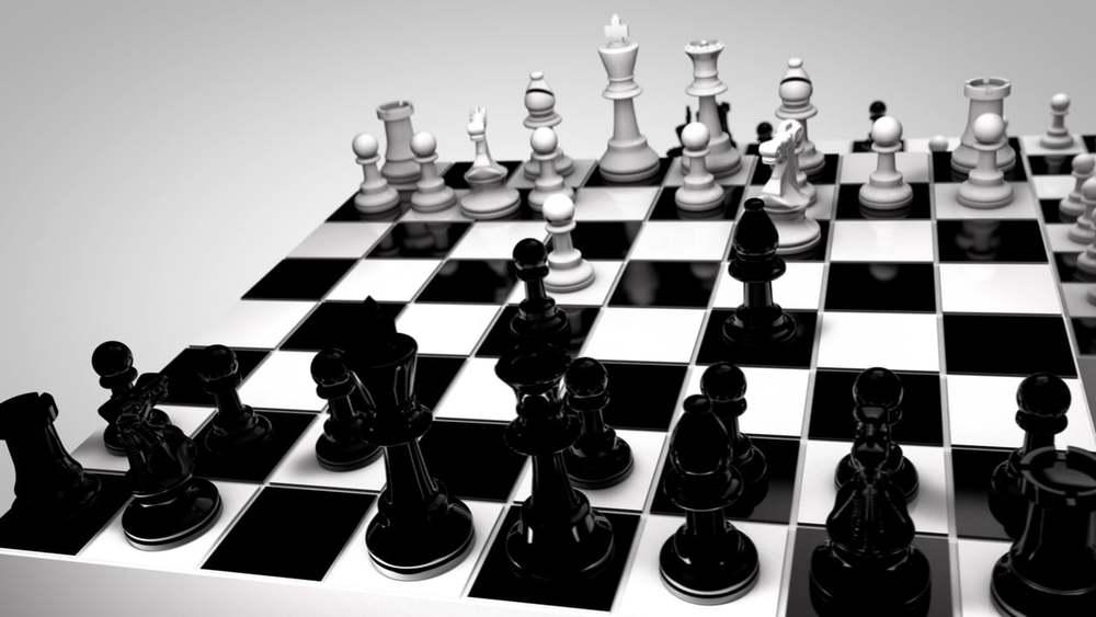 Bàn cờ vua trắng đen truyền thống.