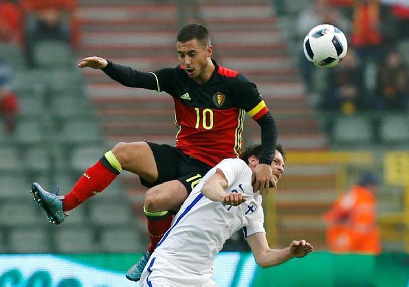 Tiền vệ Eden Hazard trong màu áo đội tuyển Bỉ.