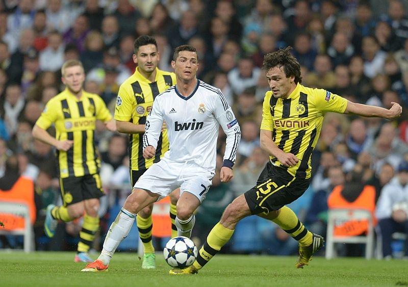 Cristiano Ronaldo trong trận đấu với Dortmund tại Champions League.