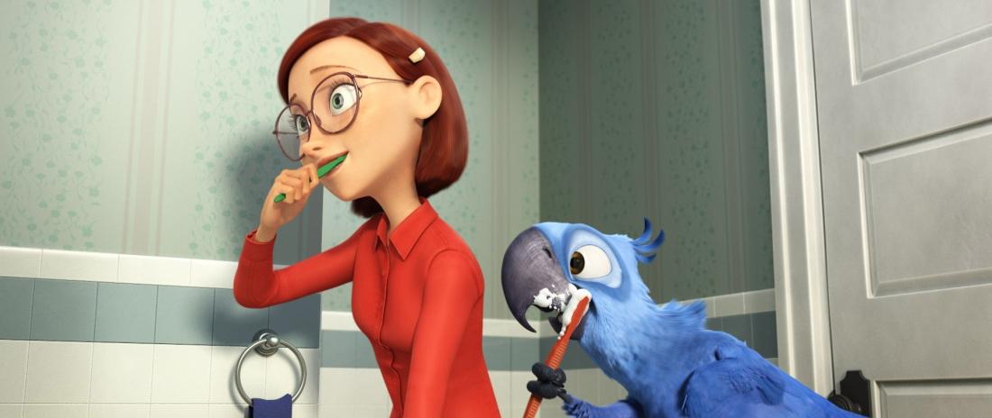 Chú vẹt Blu và cô chủ Linda.