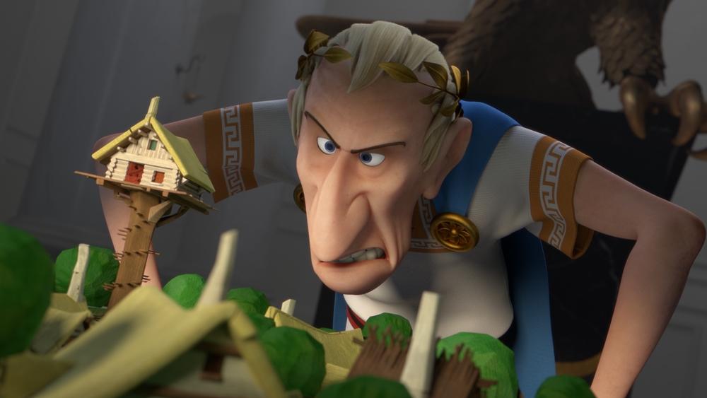 Trong phim ''Asterix: The Land Of The Gods'', Đại đế Julius Caesar quyết tâm triệt hạ toàn bộ làng Gô-loa (Gaulish).