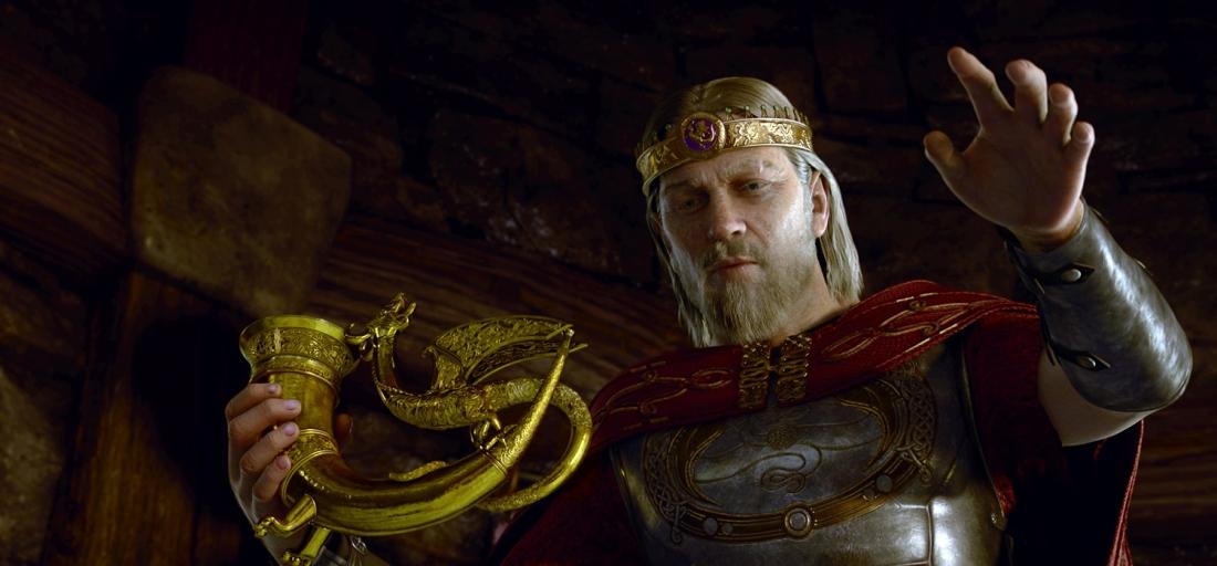 Để tạ ơn người anh hùng Beowulf, đức vua Hrothgar tặng chàng món quà quý giá nhất: một chiếc cốc làm từ sừng rồng.