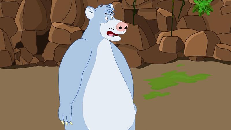 Bác gấu dạy Mowgli nói chuyện với các loài động vật trong rừng.