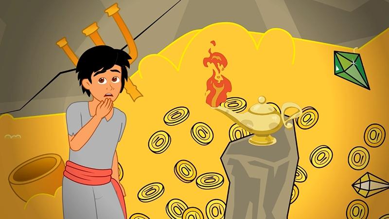 Aladdin vào hang máu vật.