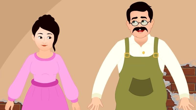 Hai vợ chồng núp vào một chỗ để xem người tí hon.