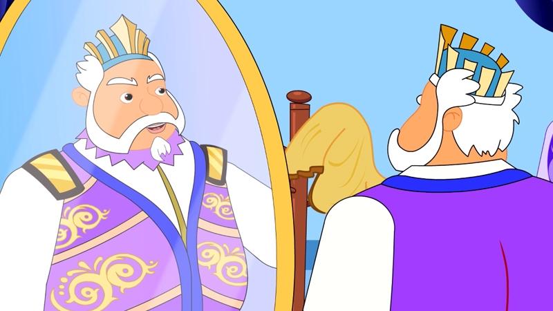 Hoàng đế ngắm gương soi để chuẩn bị thay bộ quần áo mới.