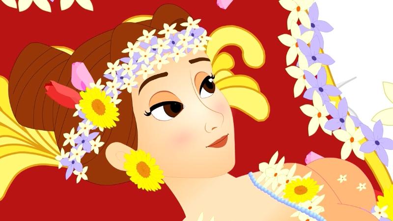 Công chúa xinh đẹp đã tỉnh dậy sau khi có một chàng hoàng tử đến và hôn vào bàn tay.