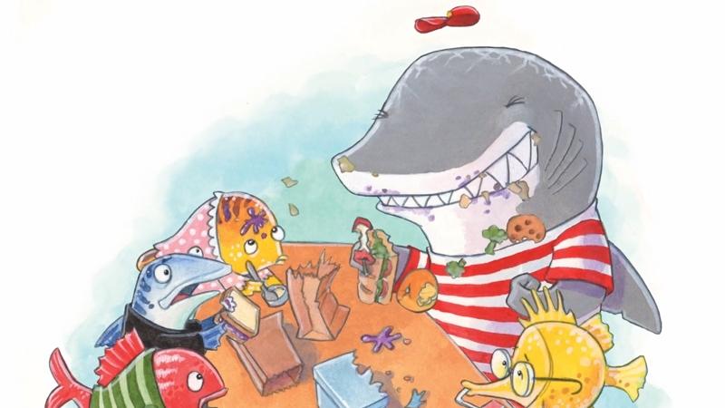 Chú cá mập Clark đang ăn trưa cùng các bạn của mình.