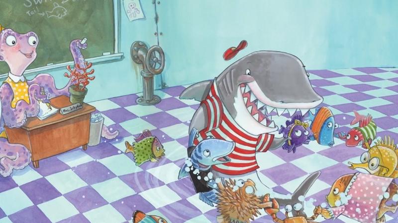 Chú cá mập Clark đang chơi cùng với các bạn trong lớp học.
