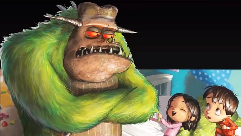 Em gái không sợ con quái vật khổng lồ của người anh.