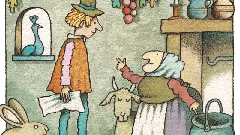 Strega Nona đang giao việc cho người trông giúp nhà cửa.