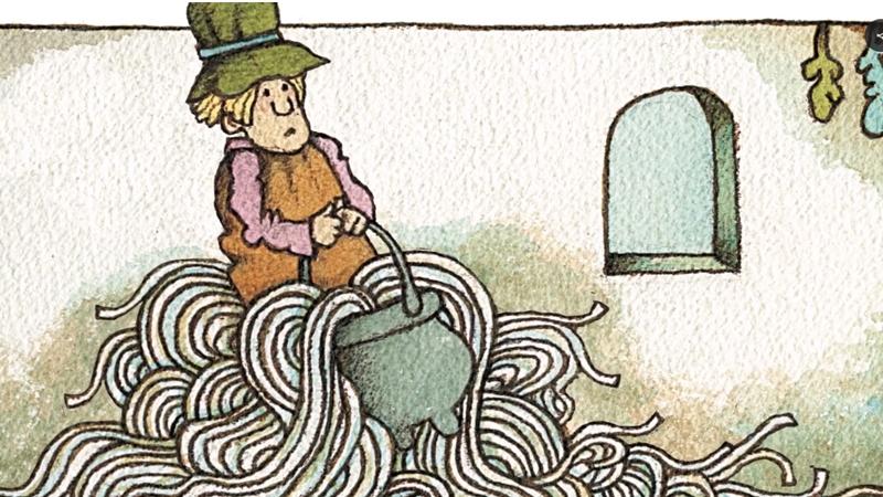Người giúp việc của Strega Nona đang ngồi trên nồi mì ống mà không biết cách tắt cái bếp đó đi.