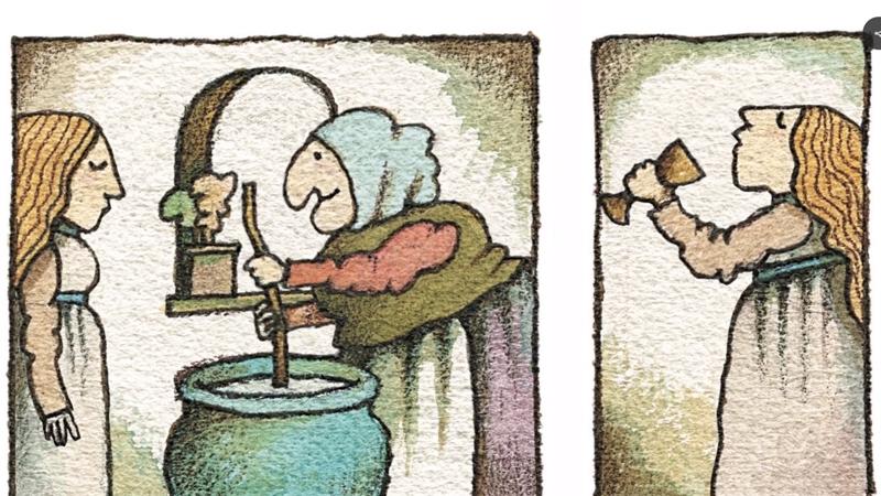 Bà phù thủy Strega Nona làm nước uống cho cô gái muốn lấy chồng.