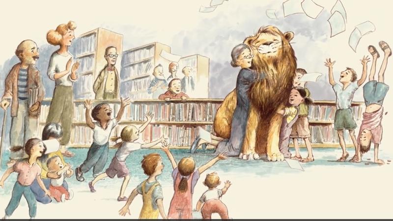 Sư tử đã trở thành người bạn thân thiết của mọi người trong thư viện.