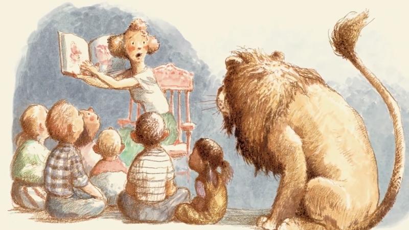 Chú sư tử lần đầu vào thư viện làm mọi người được phen hoảng sợ.