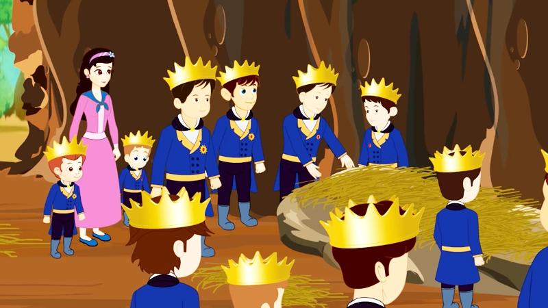 Công chúa và 11 hoàng tử nghỉ đêm trong một cái hang.