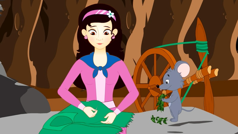 Eliza đang chăm chú dệt những sợi áo từ cây tầm ma cho các em của nàng.