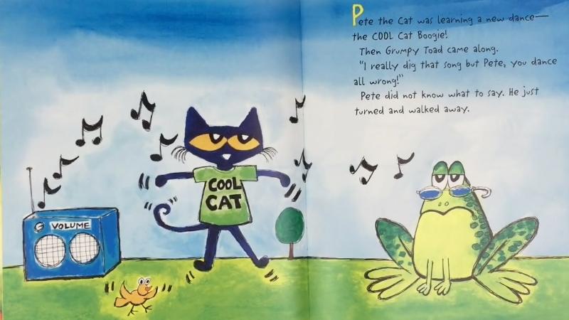 Chú mèo Pete hỏi chú ếch cách nhảy.