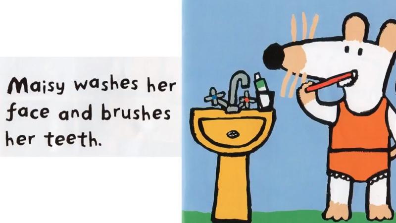Cô bạn không quên đánh răng, rửa mặt trước khi đi ngủ.