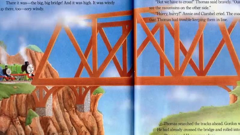 Thomas và bạn mình chuẩn bị băng qua cây cầu lớn.