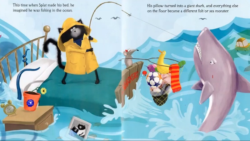 Splat tưởng tượng mình đang câu cá ở biển khi dọn dẹp phòng của mình.