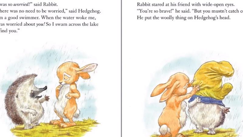 Thỏ gặp nhím giữa trời mưa to.