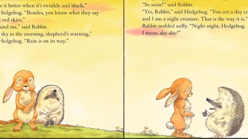 Hai bạn nhím và thỏ đang nói chuyện với nhau.