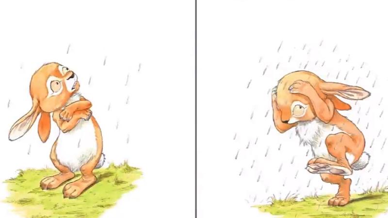 Thỏ vừa đi ăn cỏ và hoa về thì trời mưa.