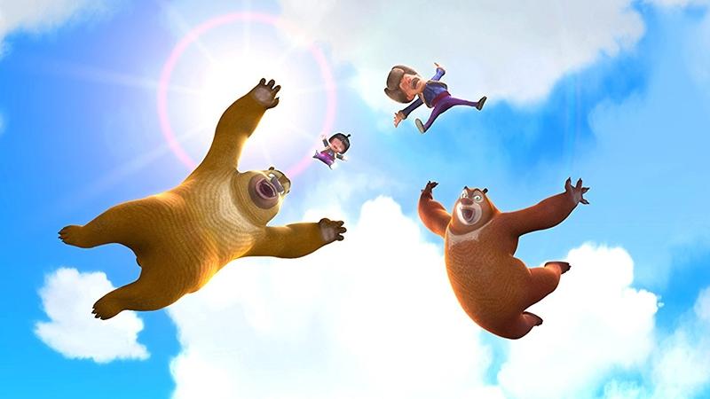 Những chú gấu mập đang bay trên bầu trời.