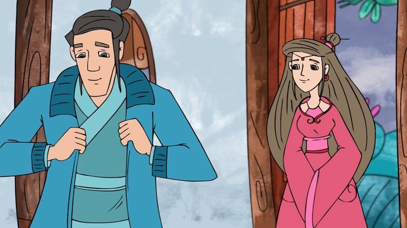 Khi thời tiết trở lạnh, chồng nàng Bân rất vui khi mặc áo len của nàng đan cho mình.