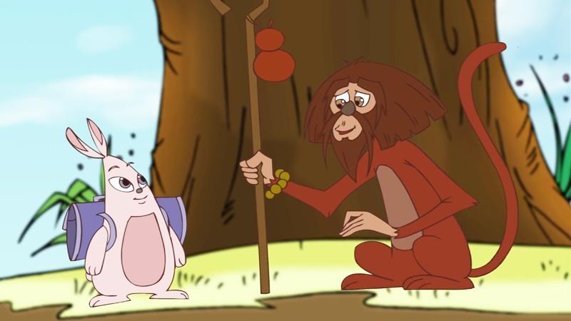 Bạn thỏ hỏi bác khỉ về việc gọi mùa xuân về.