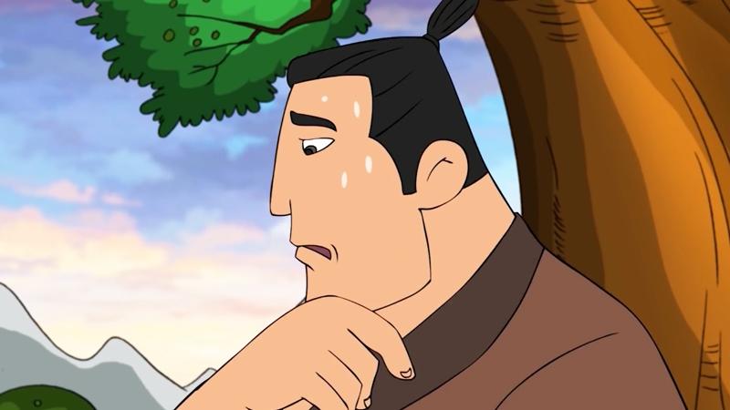 Anh chàng tiều phu ngồi bên gốc cây.