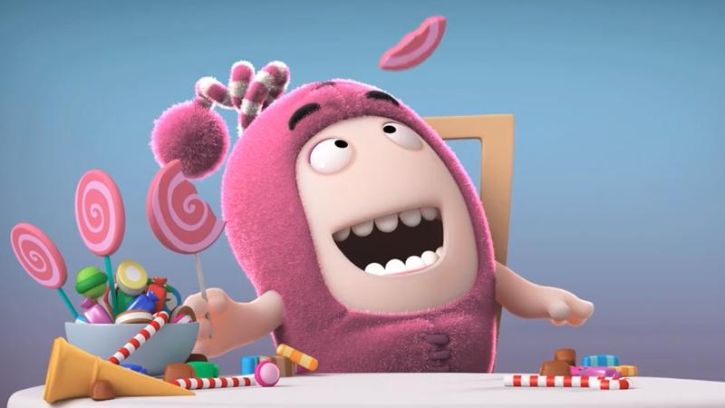 Một bạn Oddbods thích ăn kẹo mút.
