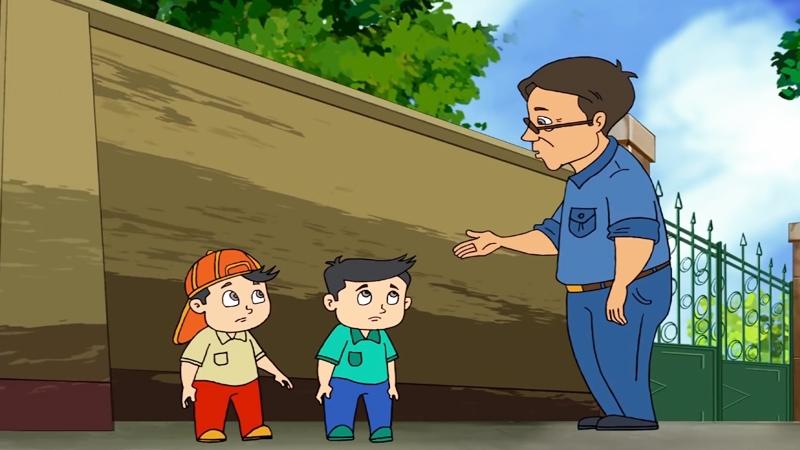 Bác bảo vệ hiền từ dạy bảo học sinh không được nghịch ngợm.