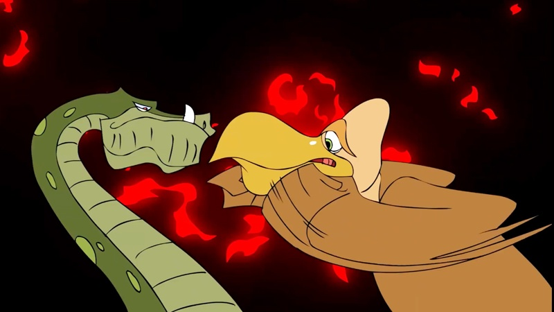 Bác Kền Kền đánh nhau với lão trăn già giải thoát các bạn Sóc.
