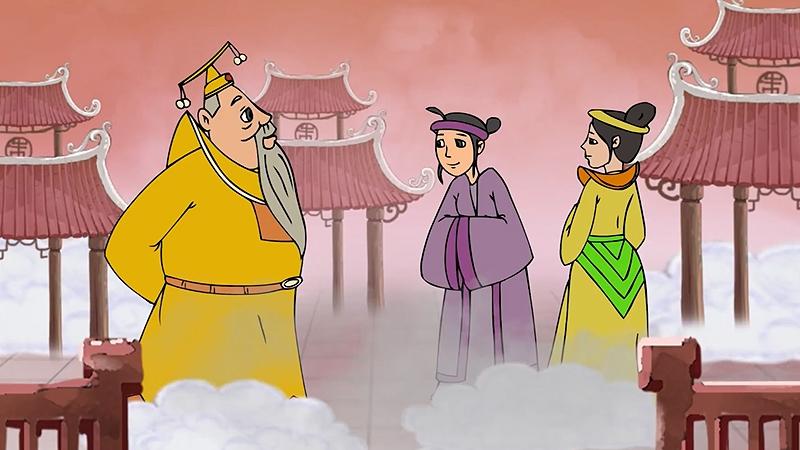 Thượng đế cử con gái là nàng lúa xuống trần gian ban phát hạt lúa cho người dân.
