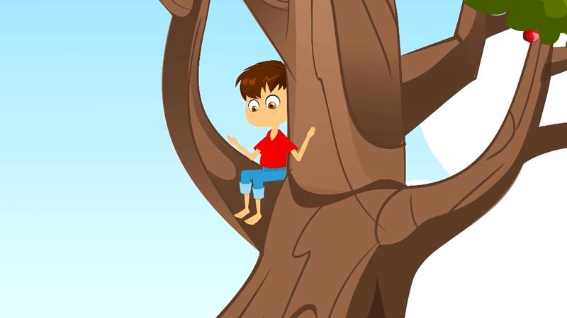 Cậu bé trèo lên cây ngồi hóng mát.