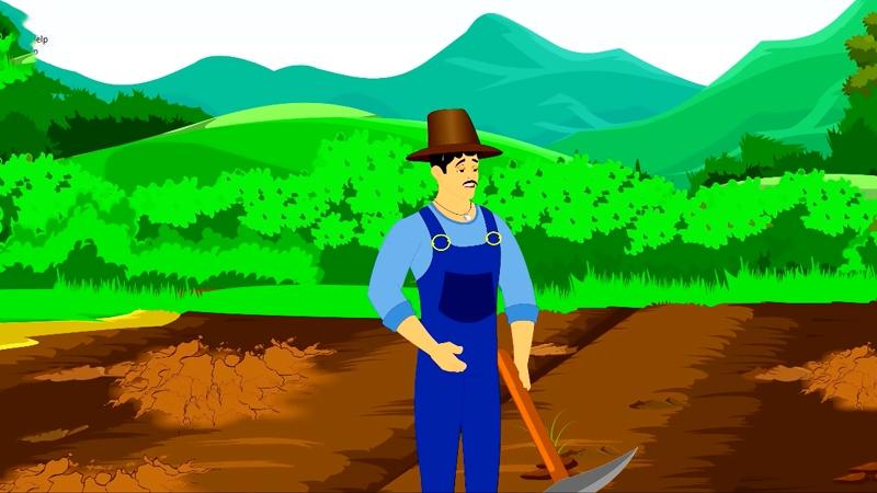 Anh nông dân Rama đang đào đất trồng trọt.