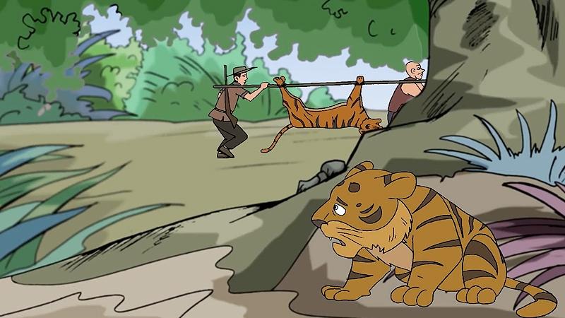 Hổ con phải tự kiếm ăn một mình.