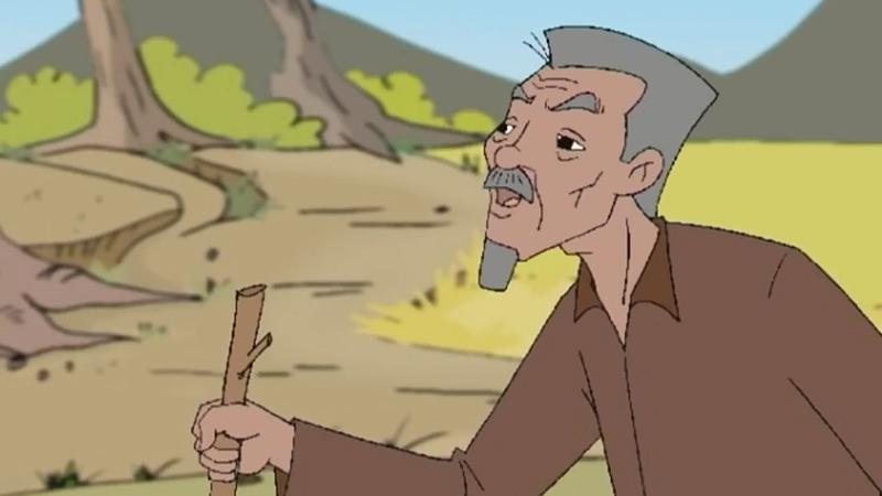 Bố anh nông dân giục làm việc.