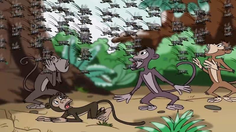 Đàn châu chấu bay ngang qua đàn khỉ.
