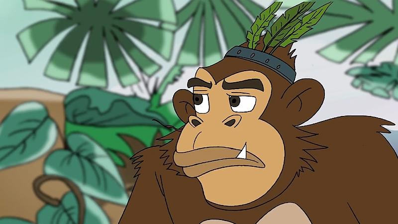 Cận cảnh chú khỉ đầu đàn.