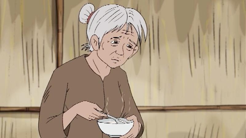 Anh chỉ có thể nấu cho mẹ bát cháo loãng cầm hơi.