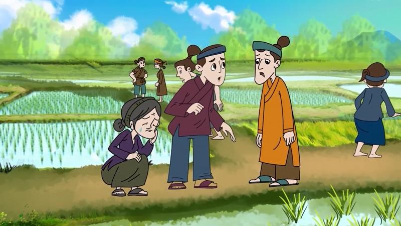 Dân làng ra thăm đồng lúa.