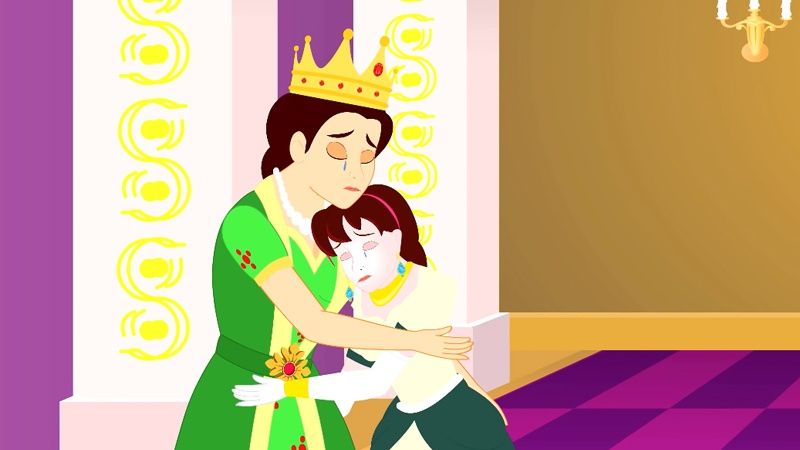 Hoàng hậu và công chúa ôm nhau khóc khi nhà vua qua đời.