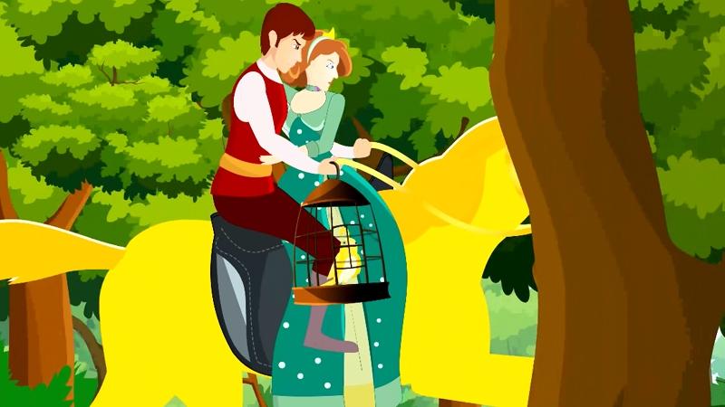 Chàng út đưa công chúa, ngựa vàng và chim vàng về đất nước mình.