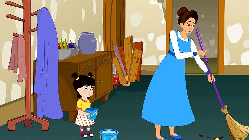 Cô con gái út giúp mẹ dọn dẹp nhà cửa.