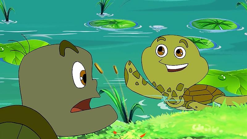Hai chú rùa đang trò chuyện với nhau.