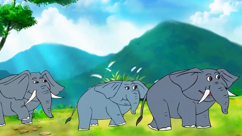 Đàn voi đi qua nhà chuột đồng ầm ầm để đến hồ nước.